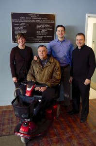 (L to R): Sara Charron, John Schouten, Pierre Poilievre, Scott Moffatt. Mr. Schouten is looking forward to having full use of the facility once the work has been completed.