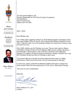 Poilievre letter to Joly re Parkway reduction