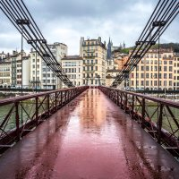 Lyon, France : puddle photography near Saint-Paul