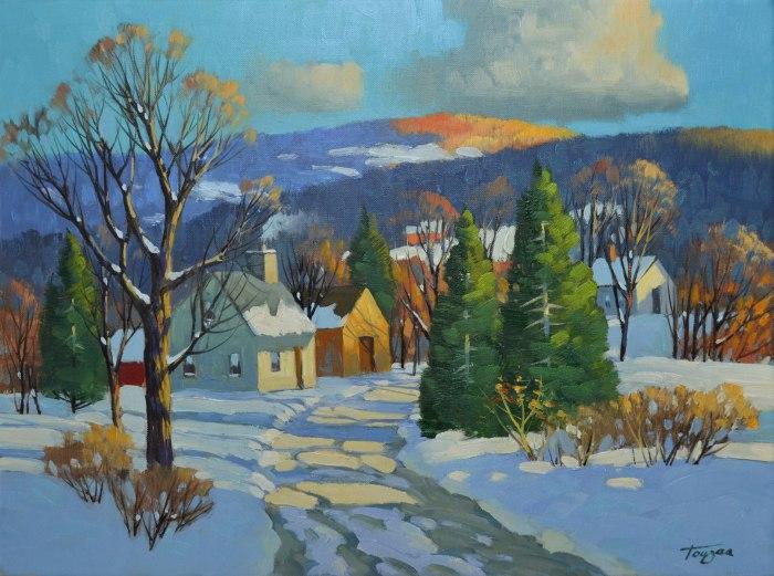 Lumière du matin, Baie-St-Paul (Huile 12 x 16 po/ 31 x 41 cm)