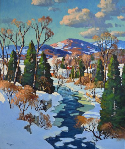 L'hiver à Piedmont (Huile 24 x 20 po / 61 x 41 cm)