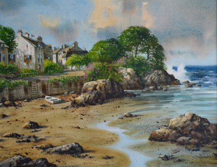 Marée-basse, Port Navalo (Aquarelle 21 x 29 po x 53 x 74 cm)