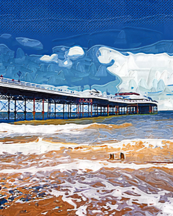 Digitised photos of Cromer pier in the gouache style