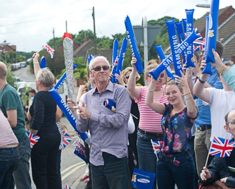Crowds waiting for the Olympic Torch relay in Cromer, North Norfolk