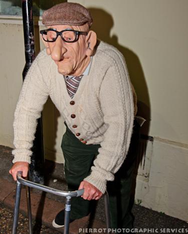 Cromer carnival fancy dress old plastic man with zimmerframe