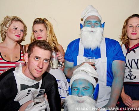 Cromer carnival fancy dress smurfs and girls