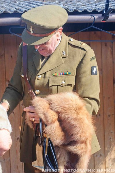 British officer holding fox stole at the 1940s weekend in Sheringham