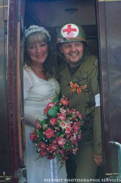 Military bride and soldier at the 1940s weekend in Sheringham 2012