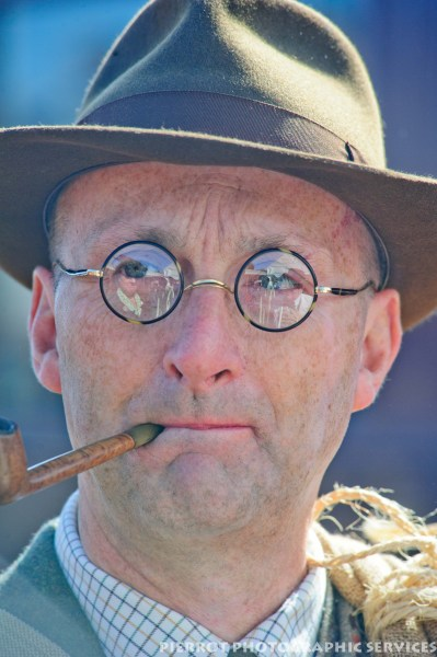 Man in period hat at the 1940s weekend in Sheringham, North Norfolk