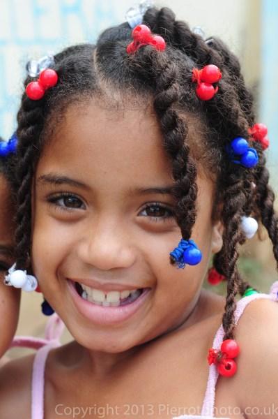 Cute Haitian girl in braids, Samana, Dominican Republic