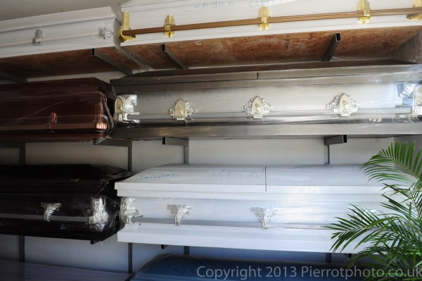 Coffins in funeral parlour, Sanama Dominican Republic