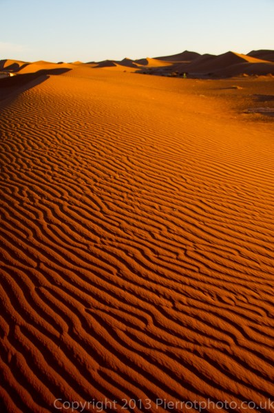 Sand dunes, after sunset, in the Sahara desert, Morocco