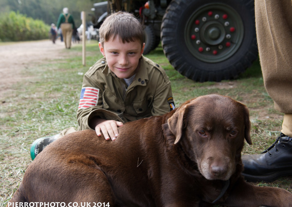 1940s weekend in Sheringham North Norfolk 2014 - American youth with dog