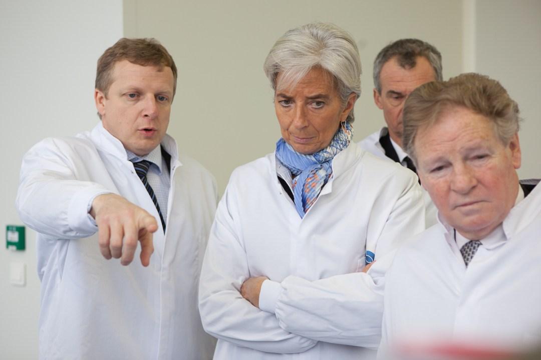 Inauguration laboratoire Pierre Fabre avec Christine Lagarde, pour Sipa Press