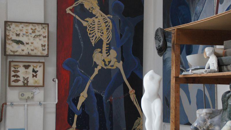 Blick in das Atelier von Konstanze Feindt-Eißner