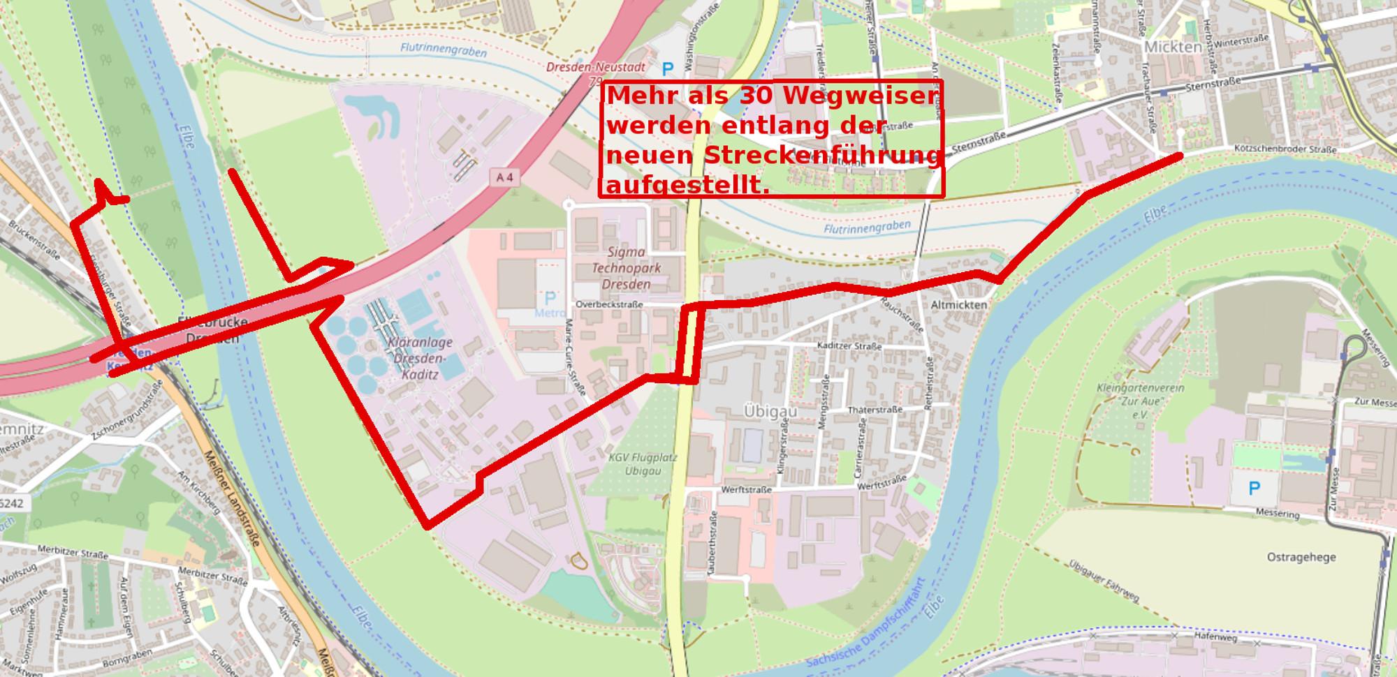 Elberadweg neuer Verlauf