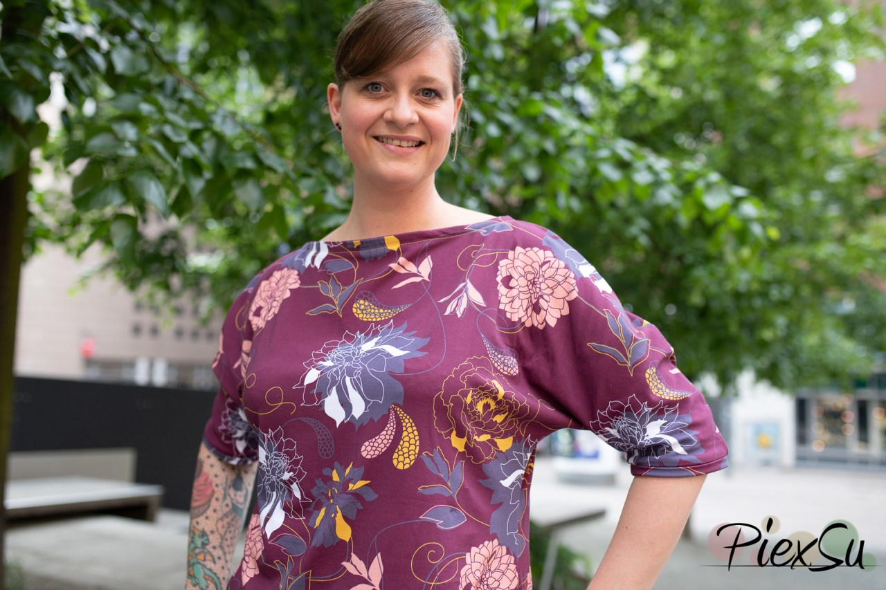 PiexSu Schnittmuster Aria Kleid Jersey nähen ebook Nähanleitung Fledermauskleid Shirt-8025