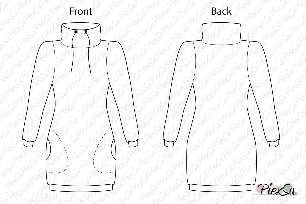 PiexSu-Schnittmuster-Hoodiekleid-Sweatkleid-Nadal-Sweat-nähen-Nähanleitung-ebook-technische-Zeichnung