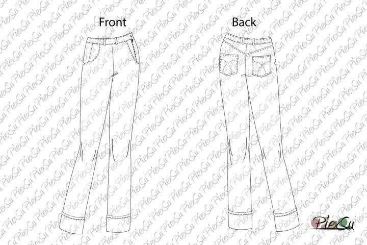 PiexSu-Damenjeans-Jean-technische-Zeichnung-Schnittmuster-nähen-Nähanleitung