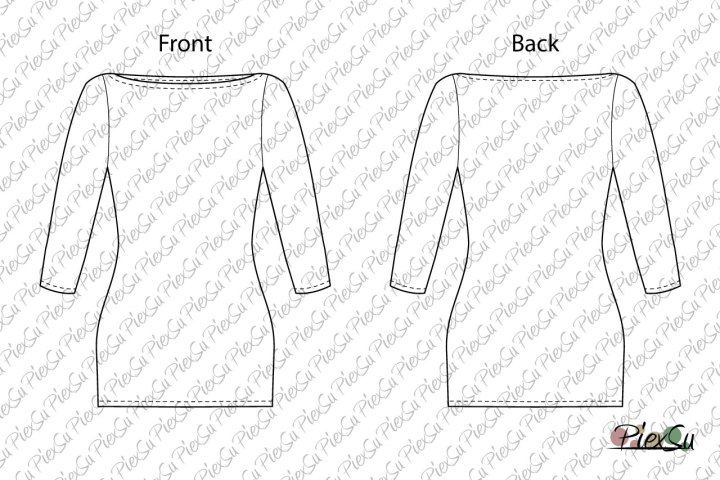 PiexSu-Schnittmuster-Betty-U-Boot-Ausschnitt-Shirt-nähen-eBook-Nähanleitung-jersey-dreiviertel-Ärmel