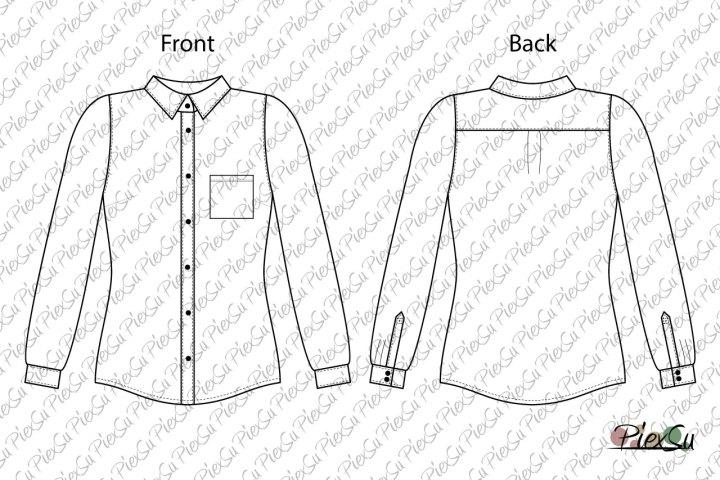 PiexSu-Schnittmuster-Hemd-Damenhemd-Bluse-Chaplut-Damen-Baumwolle-Quetschfalte-Kappelschlitz-nähen-eBook-Nähanleitung