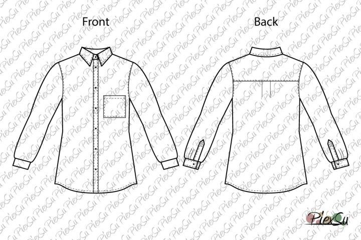 PiexSu-Schnittmuster-Hemd-Mädchen-Bluse-nähen-nähanleitung-schnittmuster-knöpfe-kragen-ebook-technische-Zeichnung