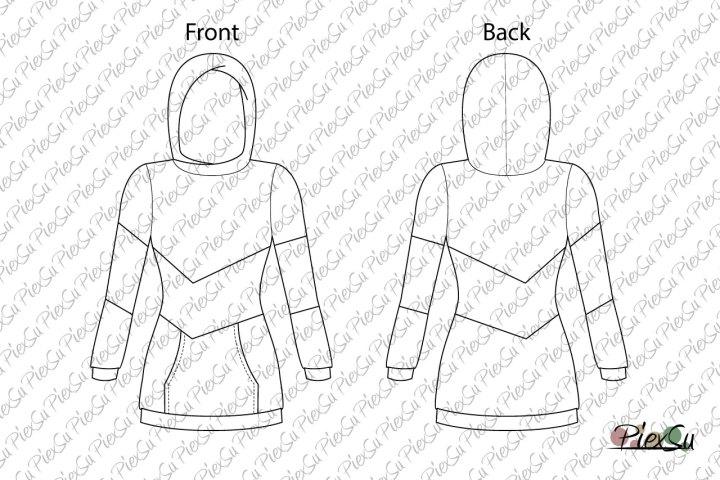 PiexSu-Schnittmuster-Hoodie-Triapiz-Damen-technische-Zeichnung