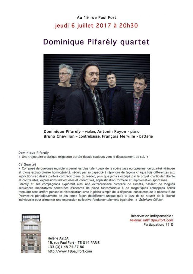 Dominique Pifarély Quartet, retour au 19PaulFort