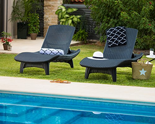 Keter Pacific Rattan Outdoor Adjustable Sunlounger And