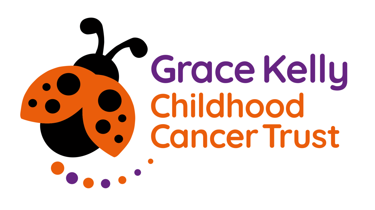 The Grace Kelly Childhood Cancer Trust logo includes the name and an illustration of a ladybird.
