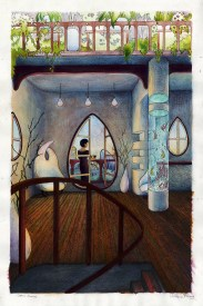Interior design for the Organic City. Watercolor, color pencil, gouche, ink, acrylic on arches.