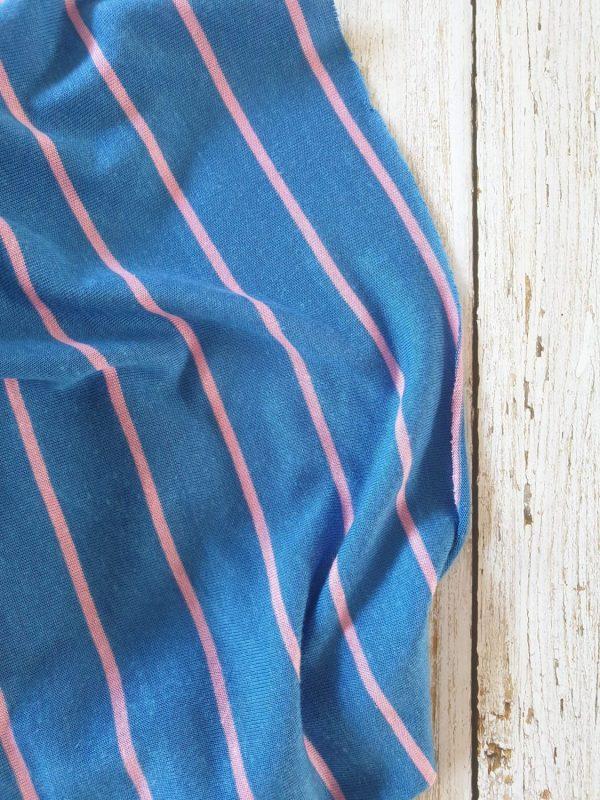 Yarn-Dyed Tencel Linen Mix Thin Stripe Pink Stripe On Blue145 185