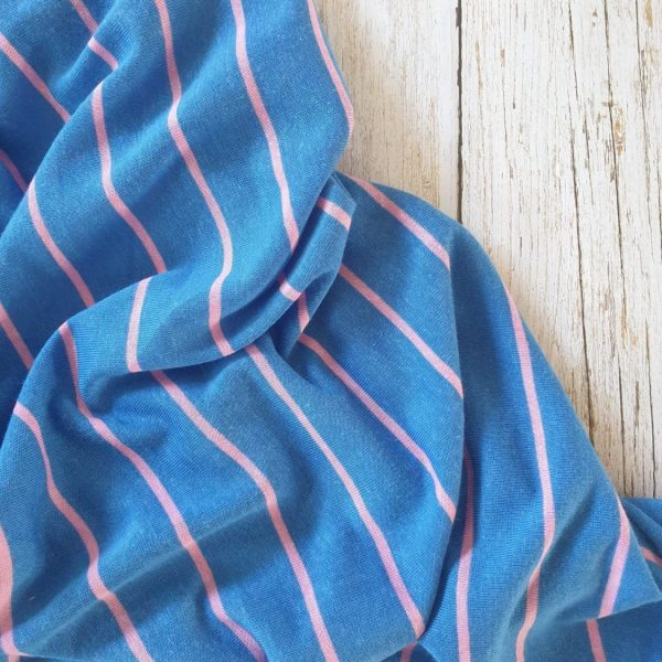 Yarn-Dyed Tencel Linen Mix Thin Stripe Pink Stripe On Blue145 185