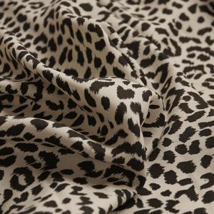 Retro leopard pattern printing skin-friendly pure linen fabric designer suit japan original imported -jdby.LP