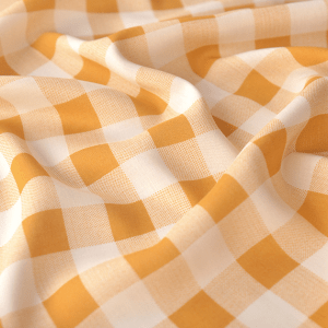 Sanded turmeric gingham viscose print silky and delicate fabric -mjsz.LG