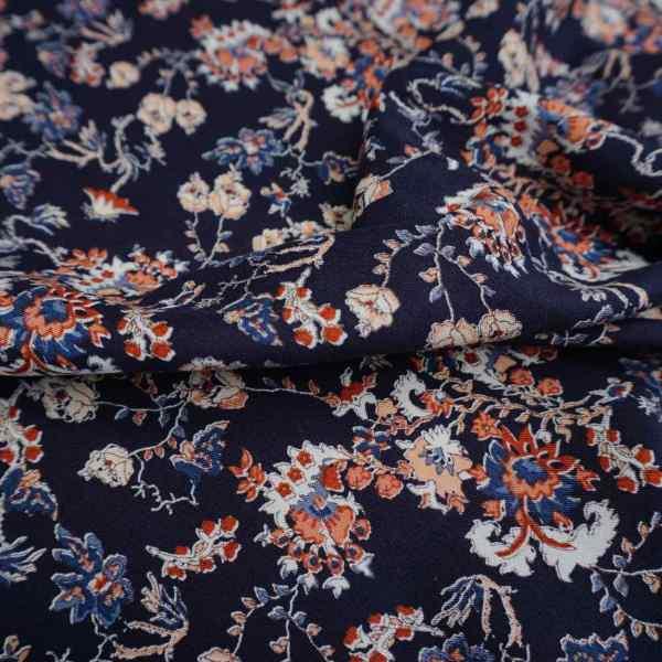 Heavy weight Floral visocose cross weave on dark navy -RB.