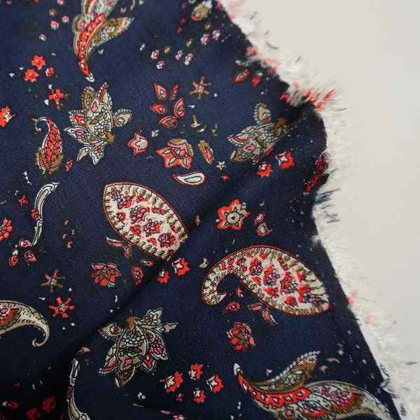 Heavy weight Paisley floral viscose twill on navy -RB.PON