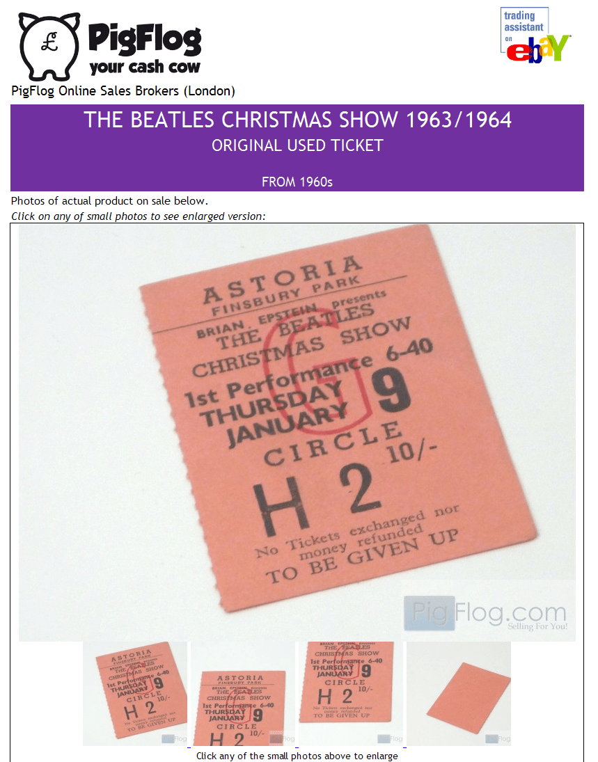 Beatles Concert Ticket - eBay trading assistant