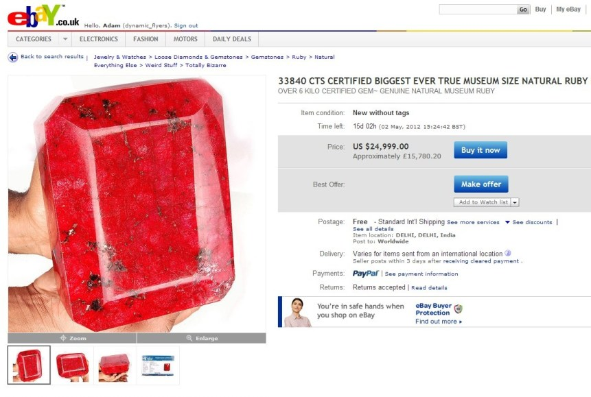 mad eBay auction £16k gemstone