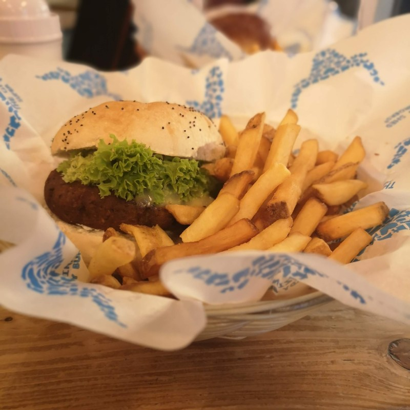 The Grazing Shed Cardiff| Vegan Cheese burger And fries