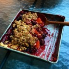 Peach and Blackberry Crumble