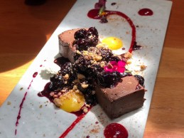 Daily Dessert Features / Chocolate mousse, edible flowers, mango & raspberry drizzle, hazelnut crumbles, pickled blueberries, homemade coconut sorbet / $5