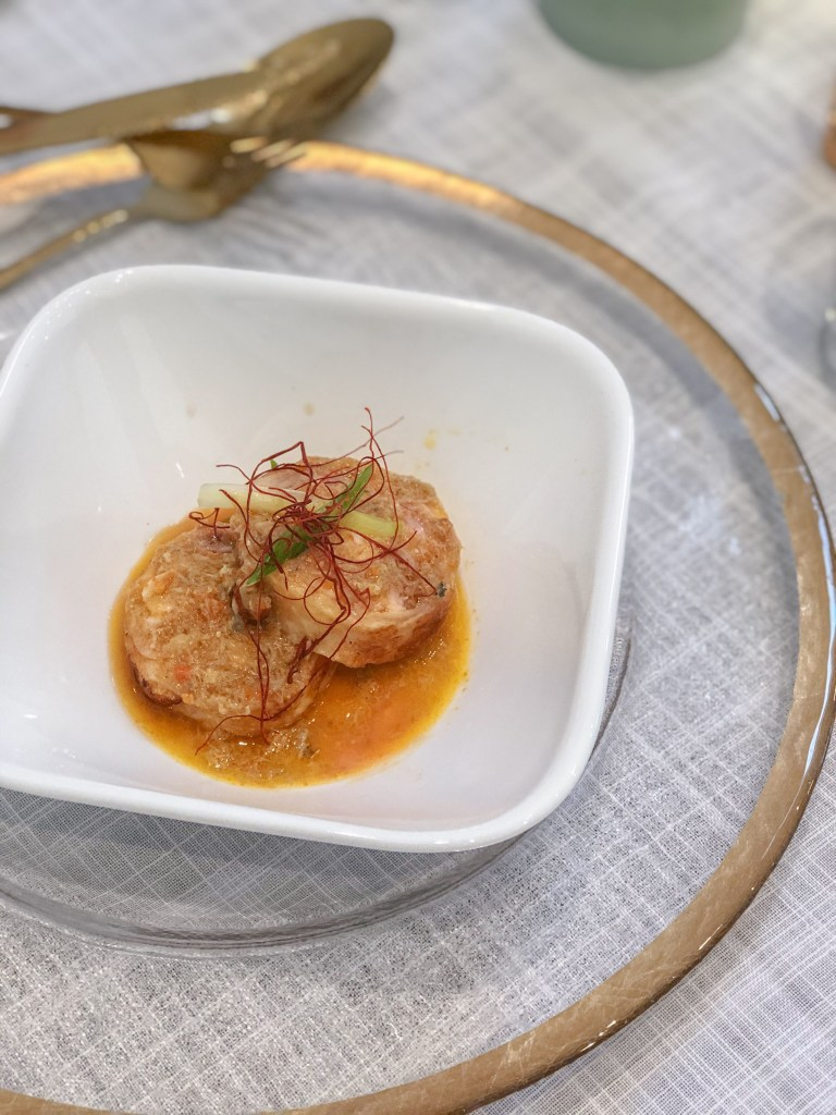 chicken roulade with crab roe