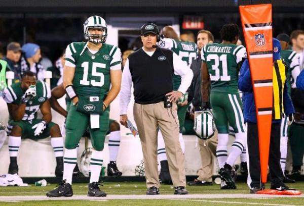 Jets Quarterback Tim Tebow on the Sideline with Coach Rex Ryan