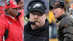 Former NFL Coaches: Crennel (Chiefs), Reid (Eagles), Shurmur (Browns)