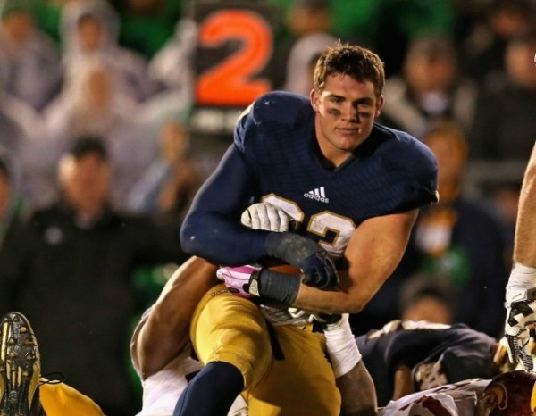Notre Dame running back Cam McDaniel with the sexiest football photo ever. (Photo: Getty/Jonathan Daniel)