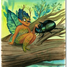 Pixie and her Pet Rhino Beetle