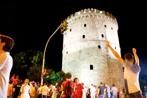 """Oxi"" Supporters Celebrate at the White Tower"