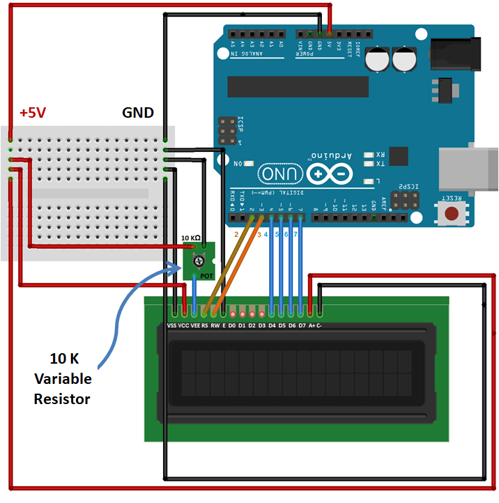 circuit diagram - connection of lcd with arduino
