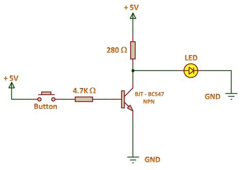 NOT Gate Using NPN Transistor